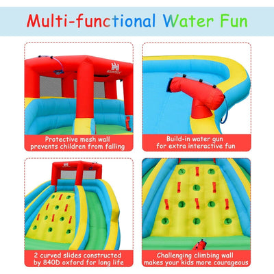 Inflatable Super Water Slide Bounce House with Mighty Splash Pool with 480W Blower Included