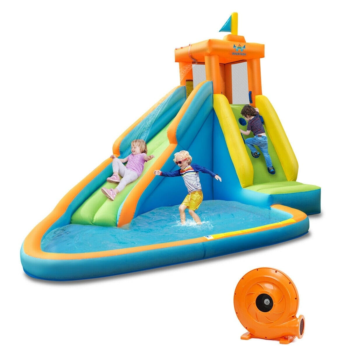 Inflatable Water Slide Kids Bounce House with 740W Blower