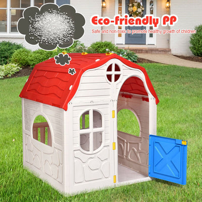 Kids Foldable Cottage Playhouse Plastic Indoor Outdoor Toy