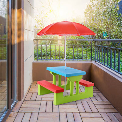 Kids Indoor Outdoor Picnic Folding Table and Bench with Umbrella - Lightweight and Portable
