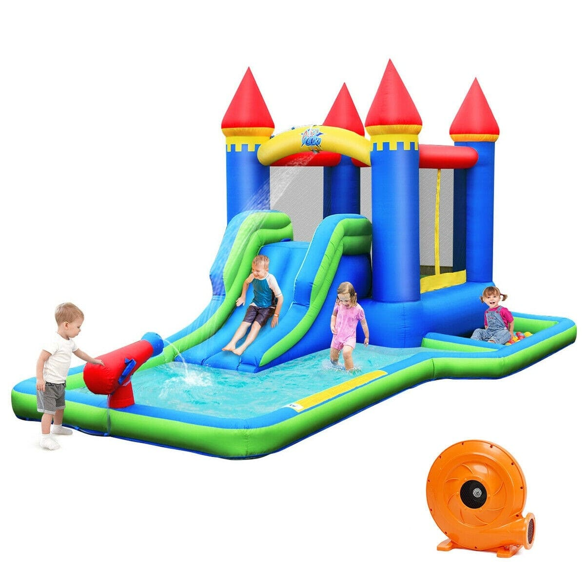Kids Inflatable Castle Bounce House with Pool and Water Slide - 580W Air Blower Included