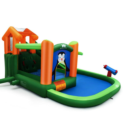 Kids Inflatable Water Park Bouncer with Climbing Wall Pool Water Cannon - No Air Blower