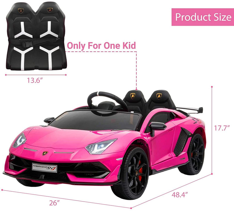 LAMBORGHINI AVENTADOR SVJ LICENSED 1-SEATER 12V KIDS RIDE-ON CAR W/ REMOTE IN PINK - FREE SHIPPING
