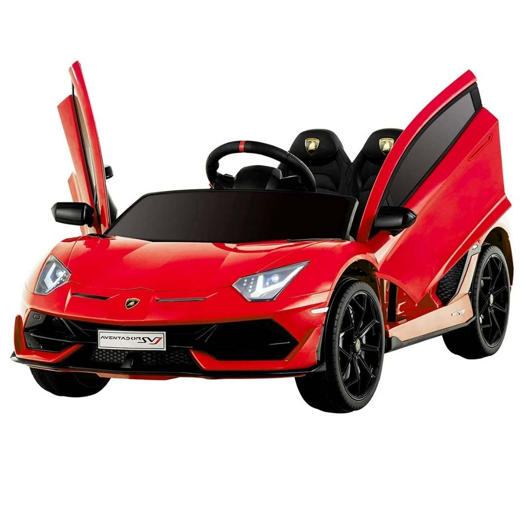 LAMBORGHINI AVENTADOR SVJ LICENSED 1-SEATER 12V KIDS RIDE-ON CAR W/ REMOTE IN RED - FREE SHIPPING