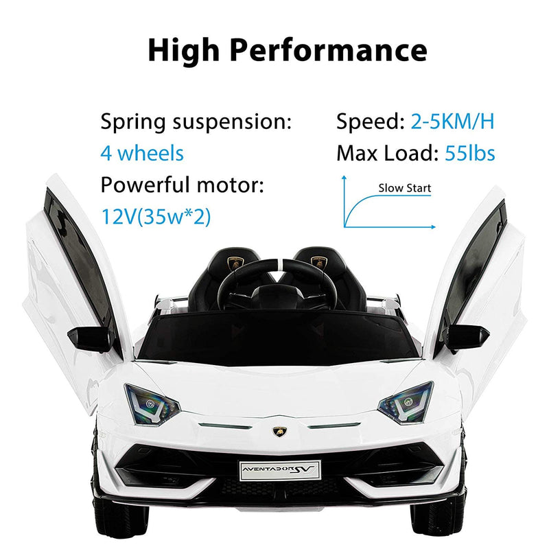 LAMBORGHINI AVENTADOR SVJ LICENSED 1-SEATER 12V KIDS RIDE-ON CAR W/ REMOTE IN WHITE - FREE SHIPPING