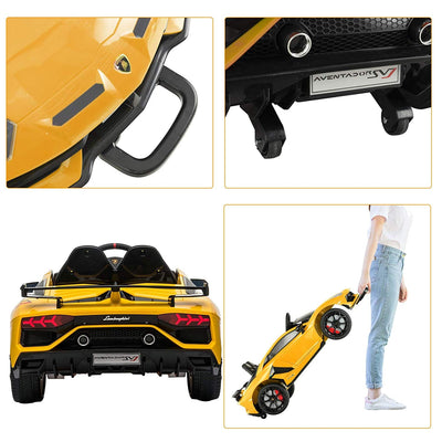 LAMBORGHINI AVENTADOR SVJ LICENSED 1-SEATER 12V KIDS RIDE-ON CAR W/ REMOTE IN YELLOW - FREE SHIPPING