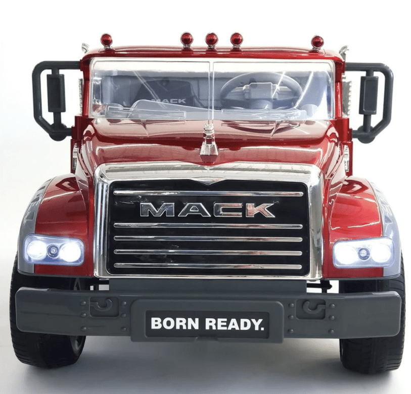 MACK TRUCK 2-SEATER WITH UPGRADED WHEELS, MOTORS, AND TRUNK IN CLASSIC RED WITH REMOTE CONTROL