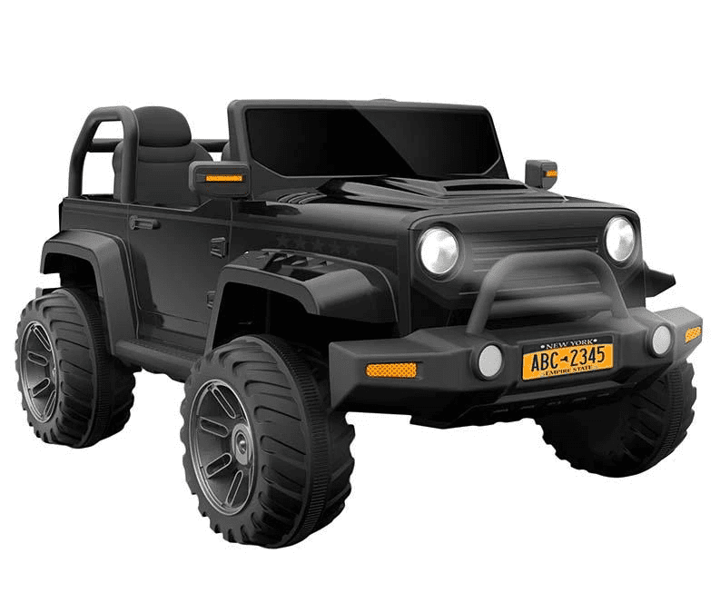 CLASSIC JEEP STYLE 24V UPGRADED MOTORS AND WHEELS IN BLACK WITH REMOTE CONTROL