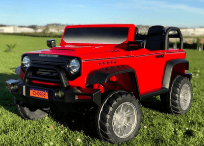 CLASSIC JEEP STYLE 24V UPGRADED MOTORS AND WHEELS IN RED WITH REMOTE CONTROL