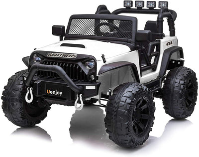 UPGRADED JEEP STYLE 12V 2-SEATER WITH BIG WHEELS, STORAGE, AND REMOTE CONTROL