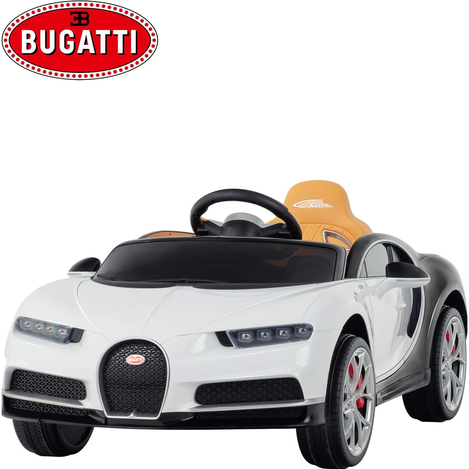 White Bugatti Chiron 12V Kids Ride On Car with Remote Control - FREE S - KidCarShop