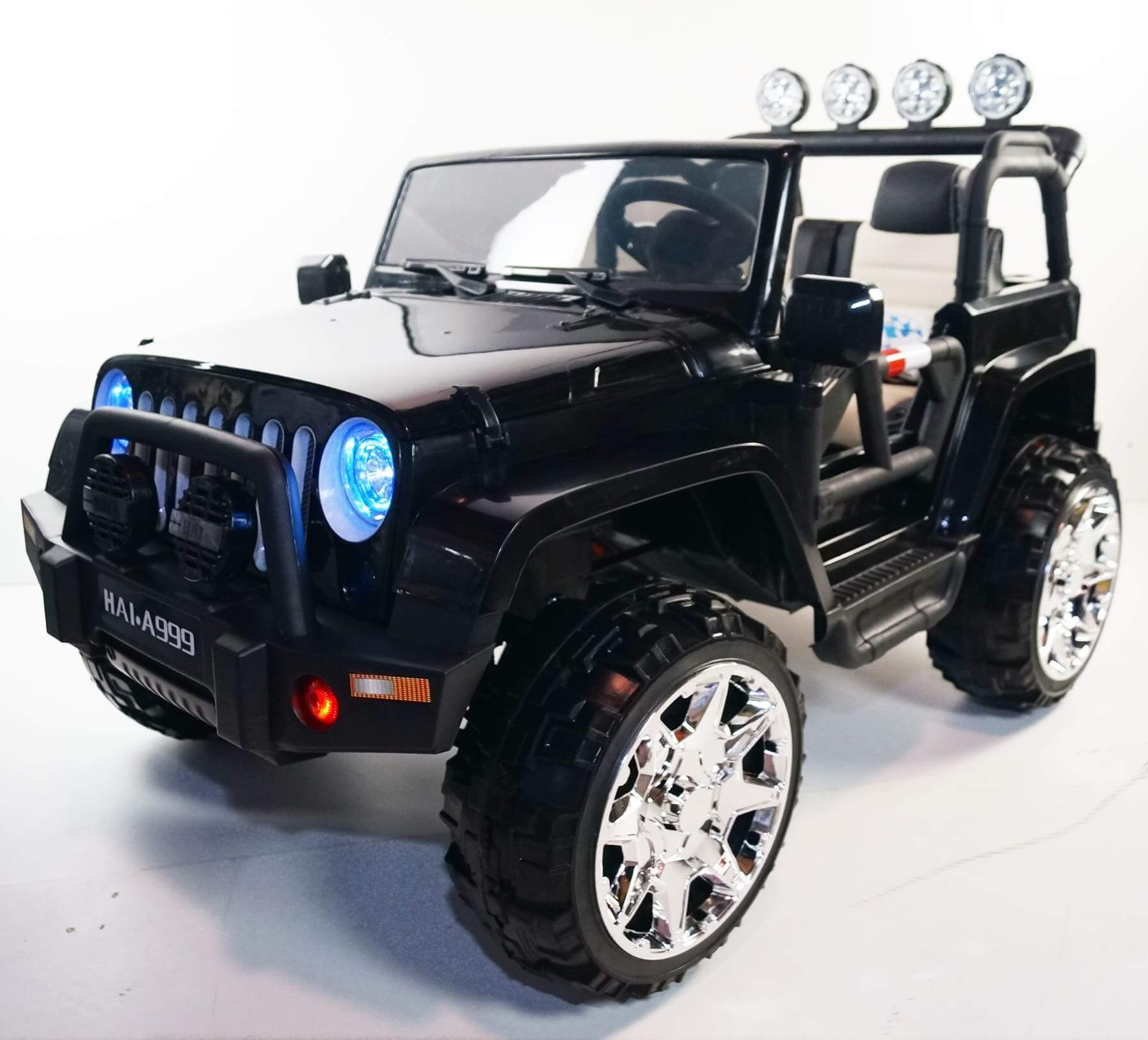 CLASSIC 2-Seater JEEP WRANGLER INSPIRED 24V RIDE-ON KIDS CAR | BLACK Cars & SUVs Mini Motos