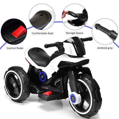 Electric Battery Powered Kids Ride on Motorcycle with MP3 - White Motorbike Costway