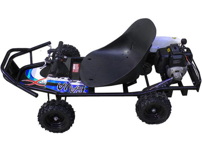 Gas Powered Kid's Ride-On Go Kart 49cc | Black and Blue Go Kart ScooterX