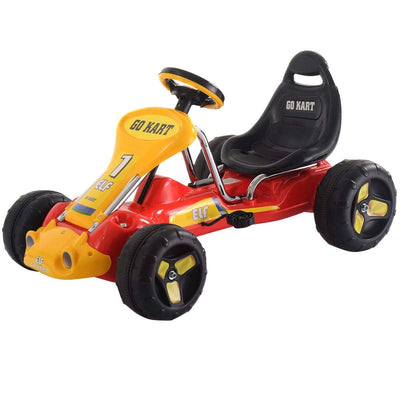 Go Kart Kids Ride On Car Pedal Powered Car 4 Wheel Racer Toy Stealth Outdoor Go Kart Costway Red