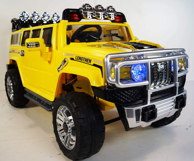 HUMMER H2 INSPIRED 12V KIDS ELECTRIC RIDE-ON CAR WITH R/C PARENTAL REMOTE | Yellow Cars & SUVs Mini Motos