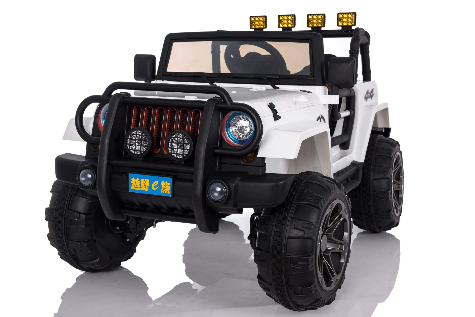 Jeep Wrangler Inspired 12V Ride-On Kids Car | White Cars & SUVs Mini Motos