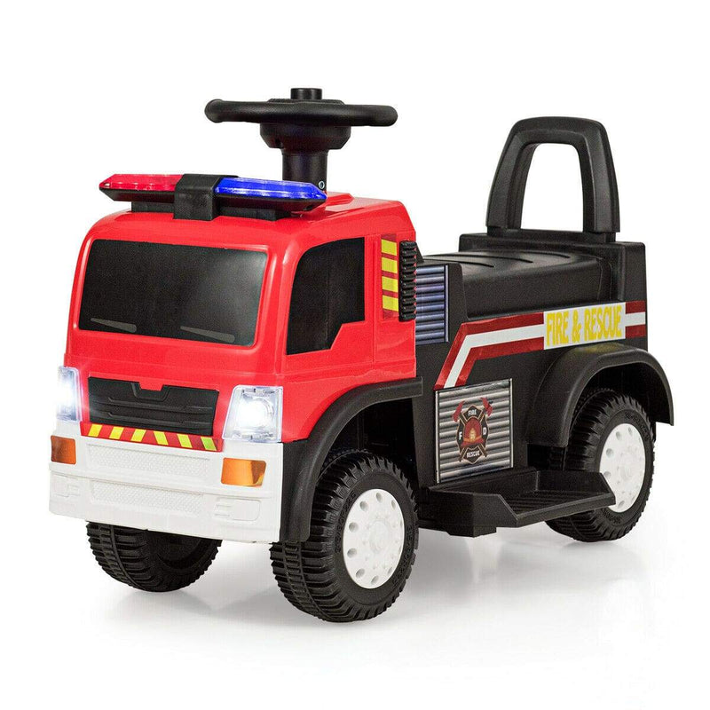 Kids 6V Battery Powered Electric Ride On Fire Truck Fire Truck Costway