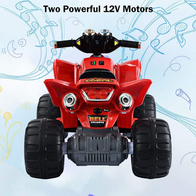 Kids Ride on 12V Electric Car ATV 4-Wheels | Red Quad Bikes & ATVs Costway
