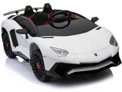 LAMBORGHINI AVENTADOR SVJ LICENSED 12V KIDS RIDE-ON CAR W/ REMOTE | WHITE Cars & SUVs Mini Motos