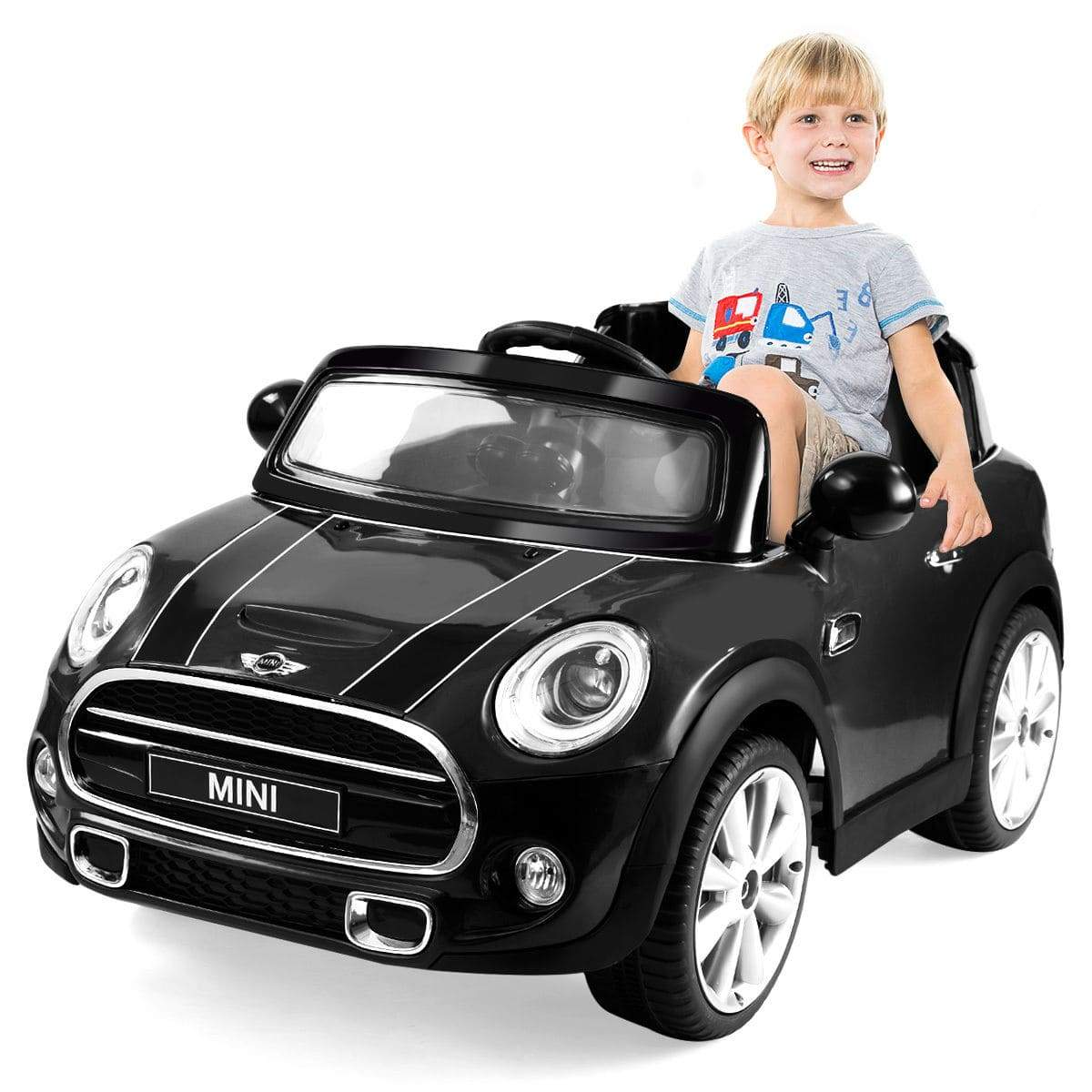 Mini Cooper Hatchback Licensed 12V Electric Kids Ride on Car with MP3 and Remote Control | BLACK - FREE SHIPPING Cars & SUVs Costway