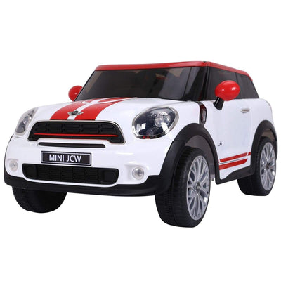 Mini Cooper Inspired 12V Electric Kids Ride-On Car with Remote Control Cars & SUVs Costway White