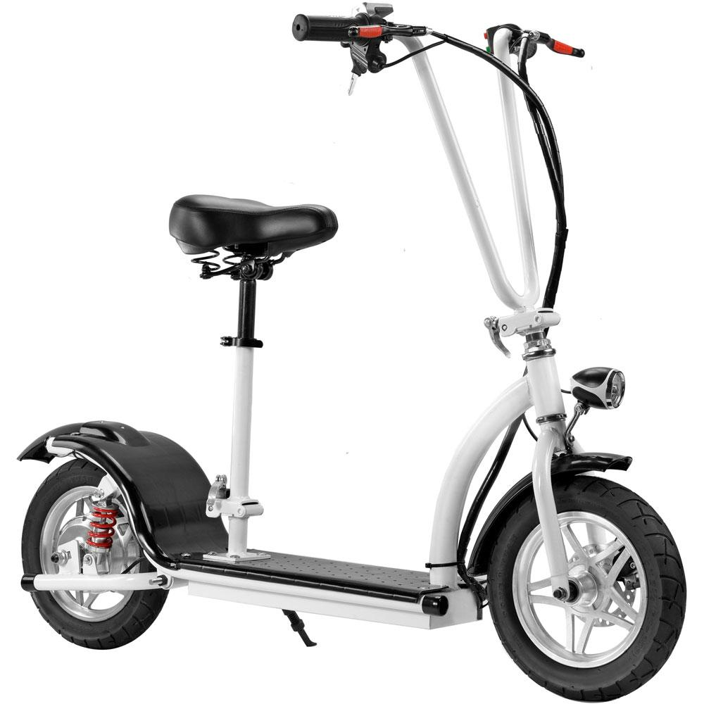 MotoTec 36v 350w Lithium Folding Kid's Ride-On Electric Scooter White Electric Scooter MotoTec