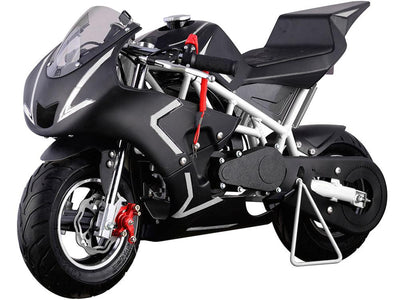 MOTOTECH GAS POWERED POCKET MOTORBIKE 40CC 4-STROKE | BLACK WITH WHITE STRIPES Motorbike MotoTec