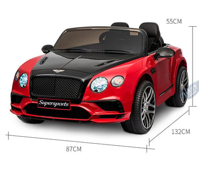 NEW BENTLEY CONTINENTAL SUPERSPORTS LICENSED 12V KIDS ELECTRIC RIDE-ON CAR WITH R/C PARENTAL REMOTE | Black AND Red Cars & SUVs Mini Motos
