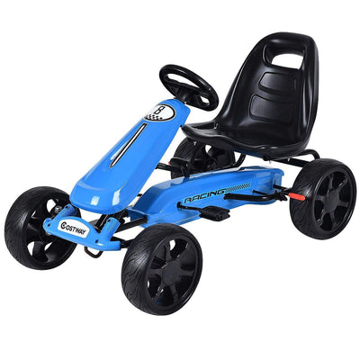 Outdoor Kids 4 Wheel Pedal Powered Riding Kart Car | Black - FREE SHIPPING Go Kart Costway Navy