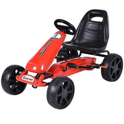 Outdoor Kids 4 Wheel Pedal Powered Riding Kart Car | Black - FREE SHIPPING Go Kart Costway Red