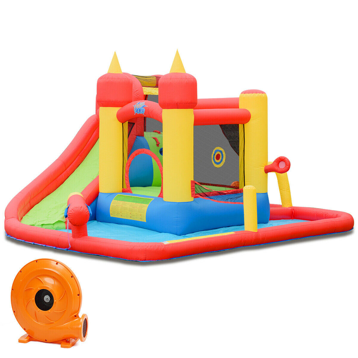 Inflatable Castle Water Slide Jumping Bounce House with 740 W Blower - FREE SHIPPING