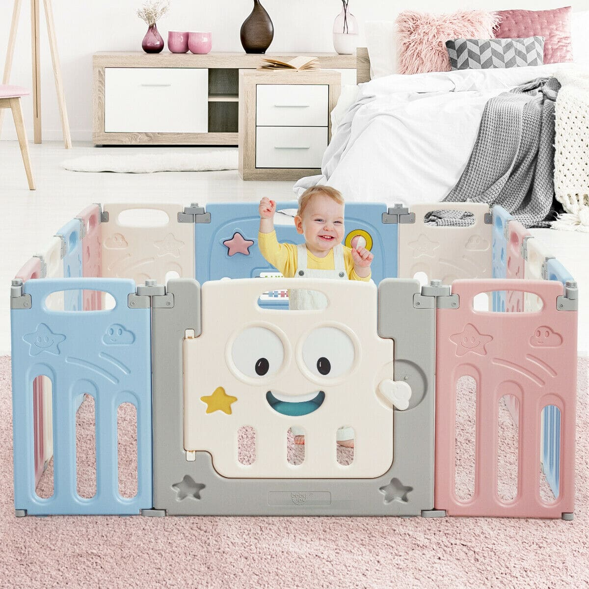14-Panel Foldable Baby Playpen Kids Activity Centre - FREE SHIPPING