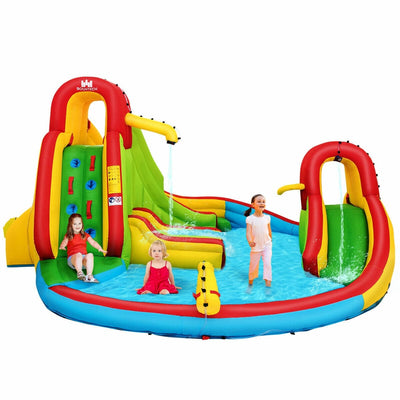 Kids Inflatable Water Slide Park with Climbing Wall and Pool (BLOWER NOT INCLUDED)- FREE SHIPPING