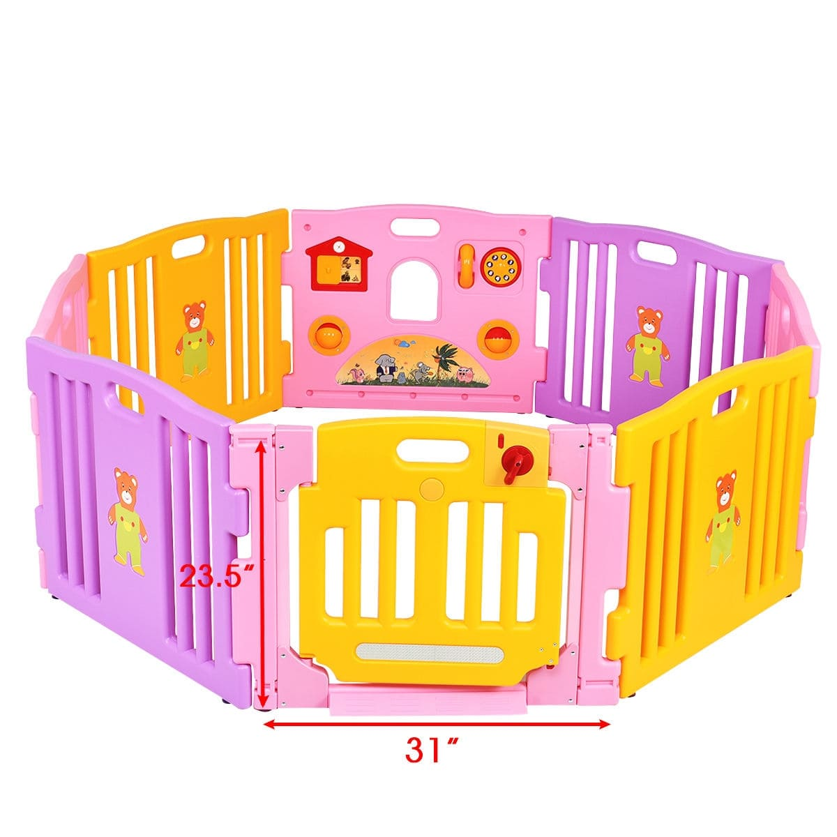 Pink 8 Panel Baby Playpen Kids Safety Play Center