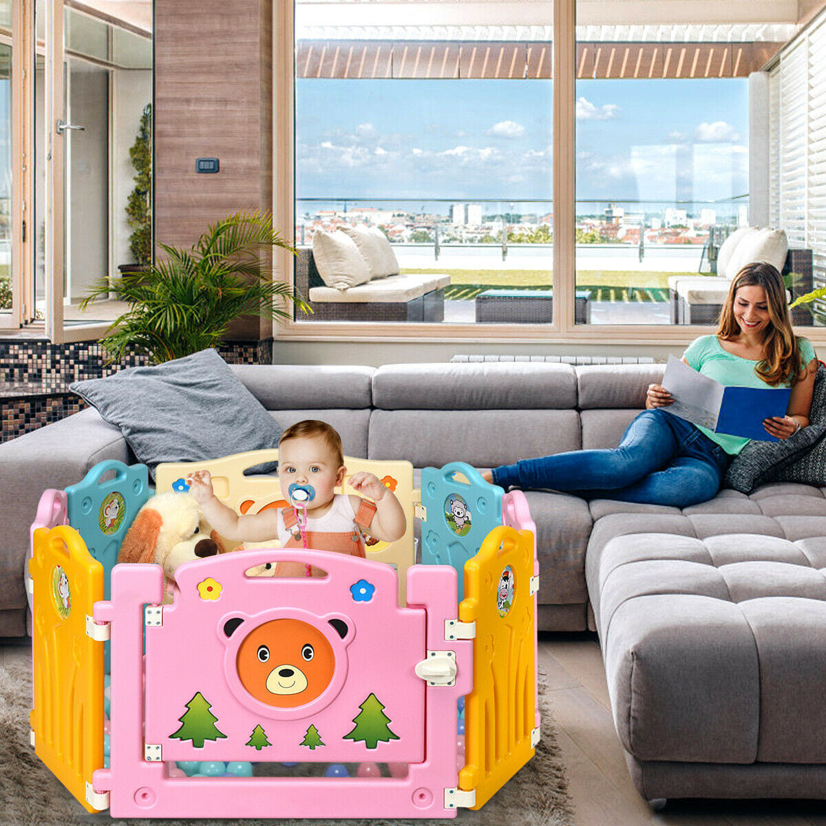 8 Panel Home Indoor Outdoor Kids Center Safety Playpen - FREE SHIPPING