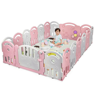 18-Panel Baby Playpen with Music Box & Basketball Hoop - FREE SHIPPING