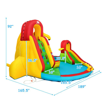 Inflatable Climbing Wall Water Slide Bounce House Park with 480 W Blower - FREE SHIPPING