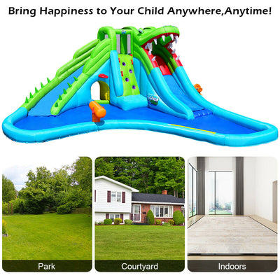 Crocodile Themed Inflatable Slide Bouncer with Two Water Slides (Blower Not Included)