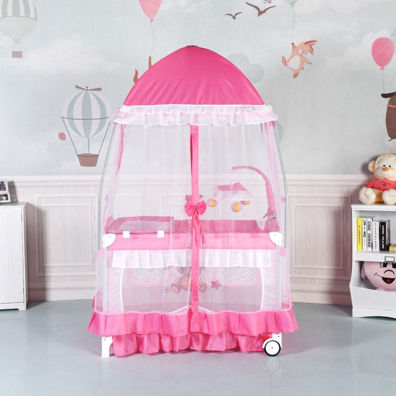 Portable Baby Playpen Crib Cradle w/ Carring Bag