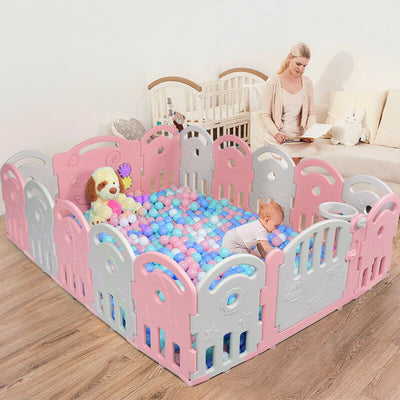 16-Panel Baby Playpen with Music Box & Basketball Hoop - FREE SHIPPING