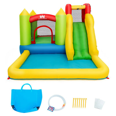 Inflatable Bounce House Waterpark Pool with Slide and 480W Air Blower - FREE SHIPPING