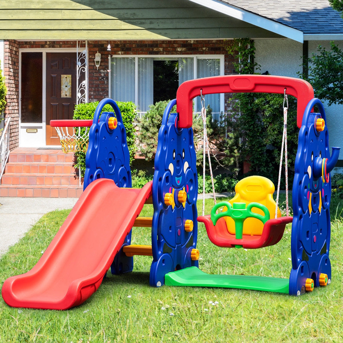 3 in 1 Junior Children Climber Slide Swing Seat Basketball Hoop - FREE SHIPPING