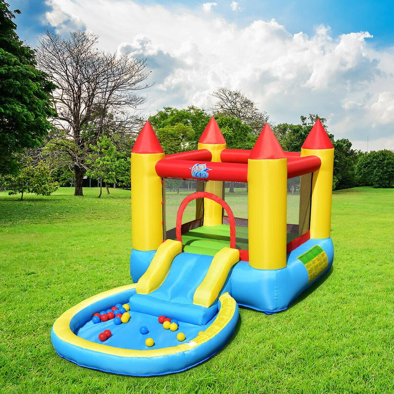 Inflatable Kids Mini Castle Slide Splash Pool Bounce House with 580w Blower - FREE SHIPPING