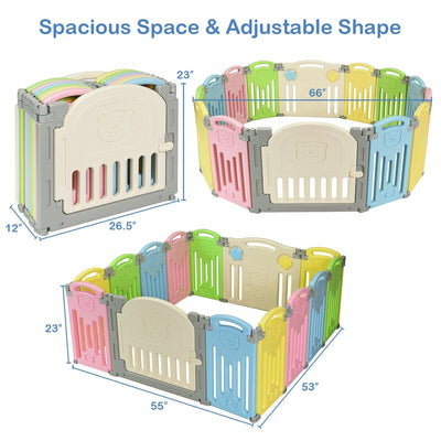 Foldable Baby Playpen 14 Panel Activity Center Safety Play Yard