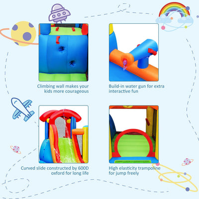 Inflatable Bounce House Water Slide with Climbing Wall without Blower - FREE SHIPPING