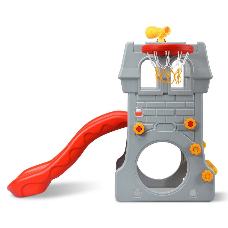 Children Castle Slide with Basketball Hoop and Telescope - FREE SHIPPING