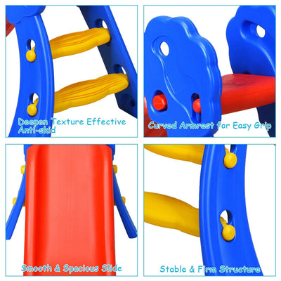 2 Step Children Folding Slide with Basketball Hoop - FREE SHIPPING
