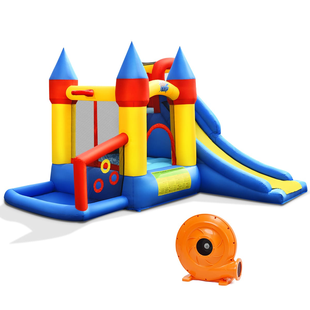 Inflatable Castle Bounce House with Slide and Balls Includes 780W Air Blower - FREE SHIPPING