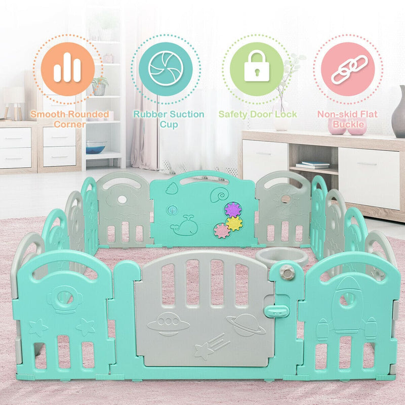 14-Panel Baby Playpen with Music Box & Basketball Hoop - FREE SHIPPING